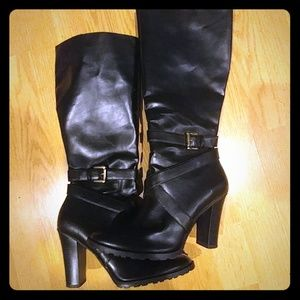 Tall Knee High Black  Boots; Zipper